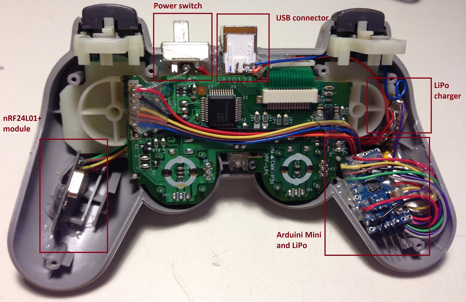 playstation controller hack arduino mini and nrf24l01 psx controller internals explained